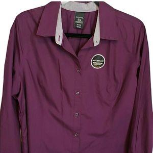 2/$10 George Button Purple with Striped Cuffs XL